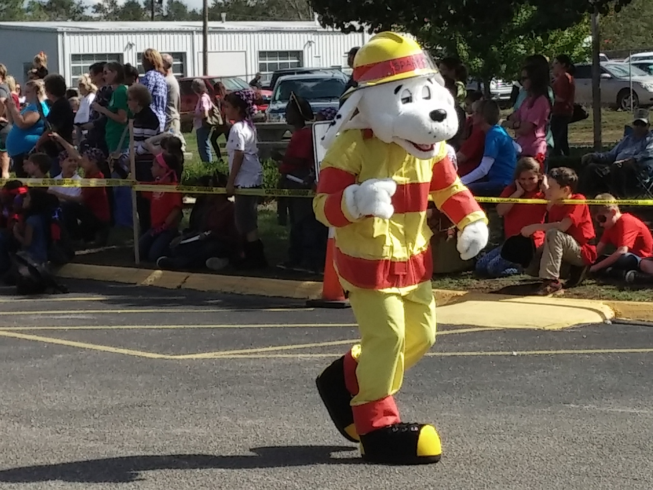 Sparky the Fire Dog Marching in the Red Ribbon Rally