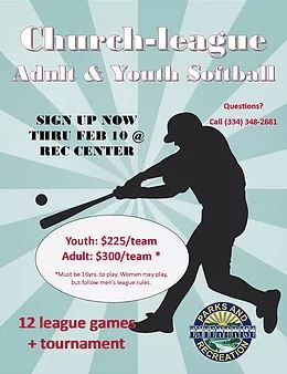 Church-League Adult and Youth Softball (PDF) Opens in new window